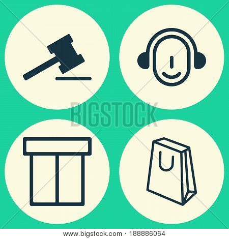 E-Commerce Icons Set. Collection Of Employee, Handbag, Box Elements. Also Includes Symbols Such As Gavel, Auction, Center.