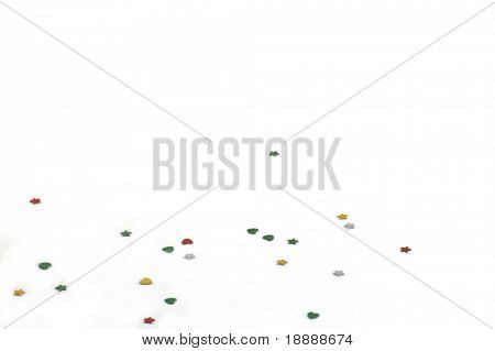 background of confetti in different shapes