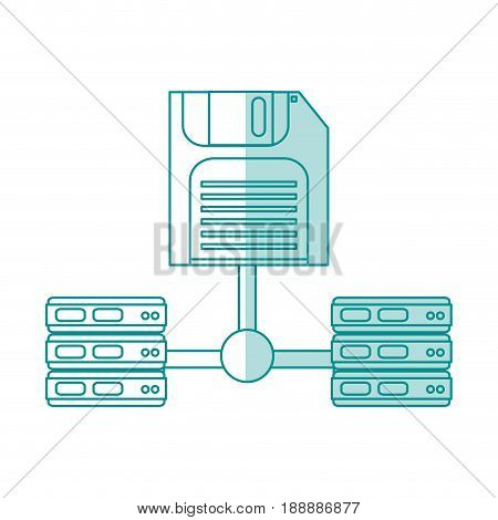 Flat line floppy disk and servers over white background. Vector illustration.