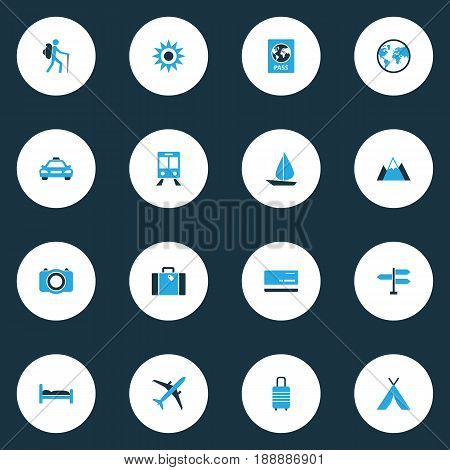Traveling Colorful Icons Set. Collection Of Mountains, Earth, Bank Card And Other Elements. Also Includes Symbols Such As Car, Direction, Boat.