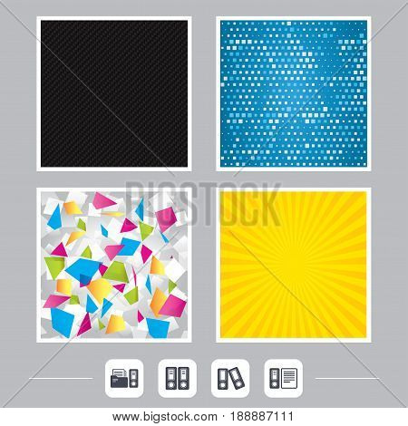 Carbon fiber texture. Yellow flare and abstract backgrounds. Accounting icons. Document storage in folders sign symbols. Flat design web icons. Vector