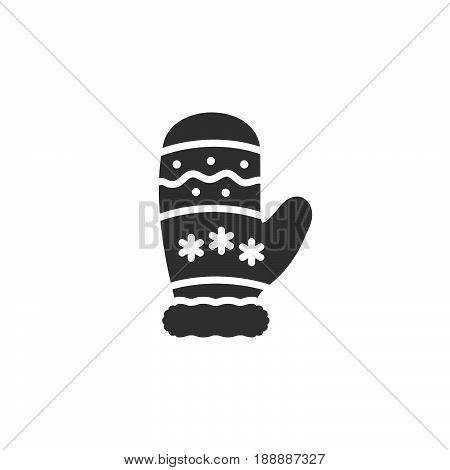 Mitten, Winter Glove Icon Vector, Filled Flat Sign, Solid Pictogram Isolated On White, Logo Illustra