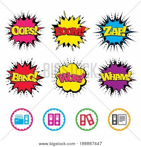 Comic Wow, Oops, Boom and Wham sound effects. Accounting icons. Document storage in folders sign symbols. Zap speech bubbles in pop art. Vector