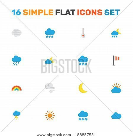 Nature Flat Icons Set. Collection Of Drizzles, Bow, Banner And Other Elements. Also Includes Symbols Such As Blizzard, Hot, Snow.