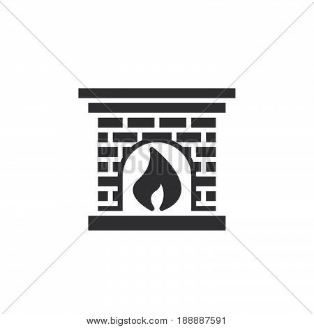 Hearth, Fireplace Icon Vector, Filled Flat Sign, Solid Pictogram Isolated On White, Logo Illustratio