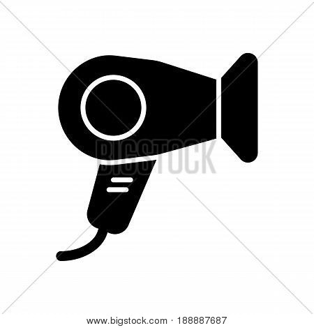 Hair dryer vector icon. Black hotel room hair dryer illustration on white background. Solid linear hair dressing icon. eps 10