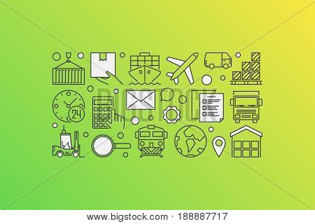 Vector logistics illustration - creative banner made with transportation and logistic icons on green background