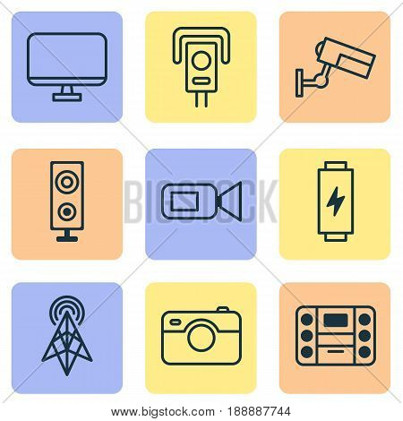 Icons Set. Collection Of Wireless Router, Speaker, Surveillance And Other Elements. Also Includes Symbols Such As Camera, Router, Security.