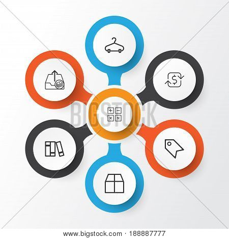 Ecommerce Icons Set. Collection Of Price Stamp, Cardboard, Outgoing Earnings And Other Elements. Also Includes Symbols Such As Paid, Peg, Refund.