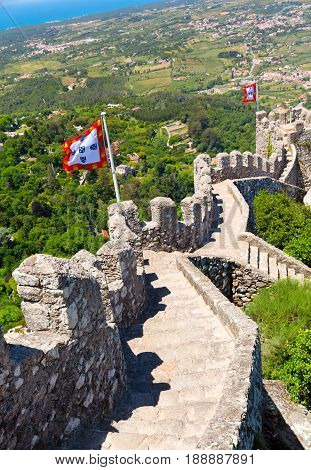 view of the Castle of the Moors in Sintra Portugal