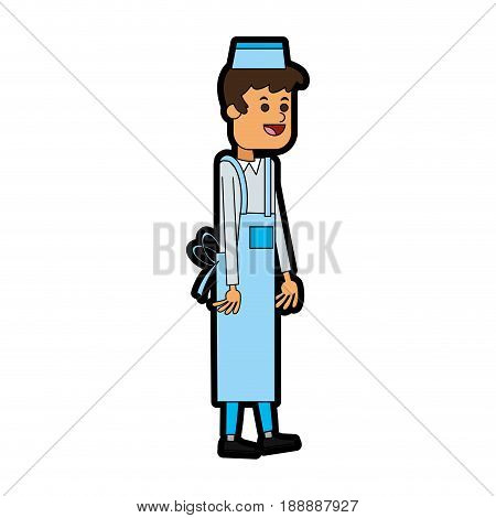 young man waiter cook or cashier fast food related icon image vector illustration design