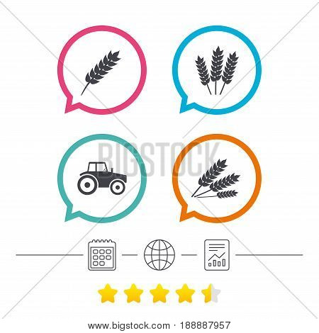 Agricultural icons. Wheat corn or Gluten free signs symbols. Tractor machinery. Calendar, internet globe and report linear icons. Star vote ranking. Vector