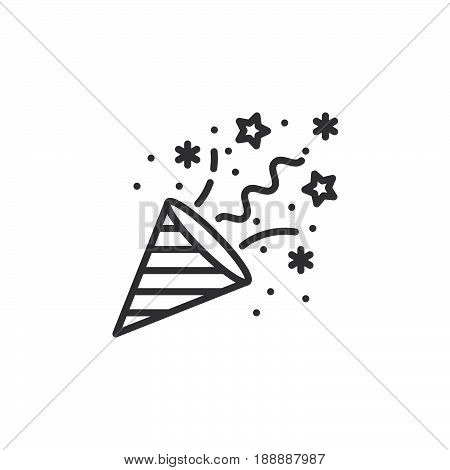 Confetti Popper line icon outline vector sign linear pictogram isolated on white. logo illustration
