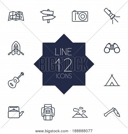 Set Of 12 Camping Outline Icons Set.Collection Of Teapot, Guidepost, Shelter And Other Elements.