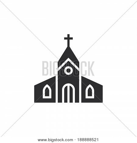 Church Building Icon Vector, Filled Flat Sign, Solid Pictogram Isolated On White, Logo Illustration