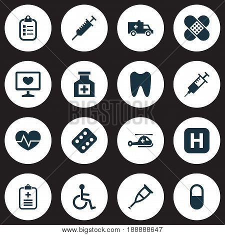 Drug Icons Set. Collection Of Remedy, Disabled, Peck And Other Elements. Also Includes Symbols Such As Invalid, Brougham, Copter.