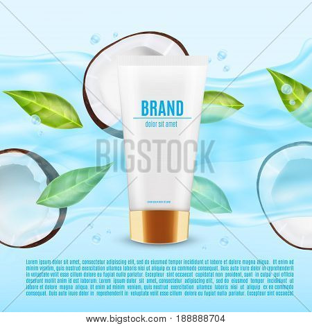 Realistic cosmetic container with coconut slice in a water splash. Container for cream, lotion and other product. Design for ads or magazine. 3d illustration. EPS10 vector