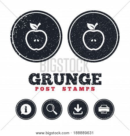 Grunge post stamps. Apple sign icon. Fruit with leaf symbol. Information, download and printer signs. Aged texture web buttons. Vector
