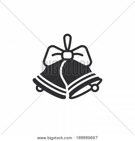 Christmas Jingle Bells With Bow Icon Vector, Filled Flat Sign, Solid Pictogram Isolated On White, Lo