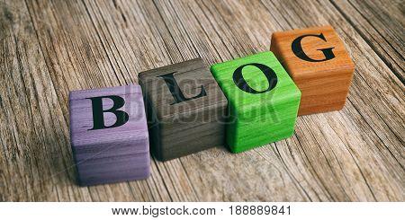 Word Blog On Wooden Blocks. 3D Illustration