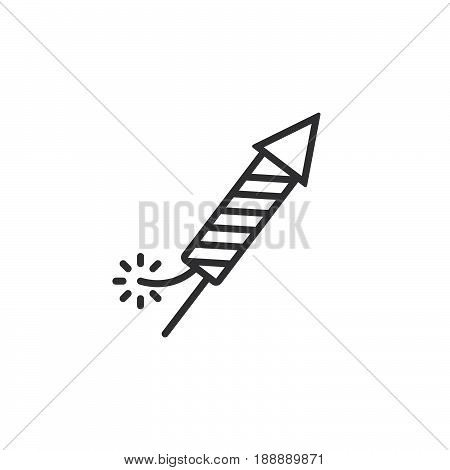 Petard, Fireworks Rocket Line Icon, Outline Vector Sign, Linear Pictogram Isolated On White. Logo Il