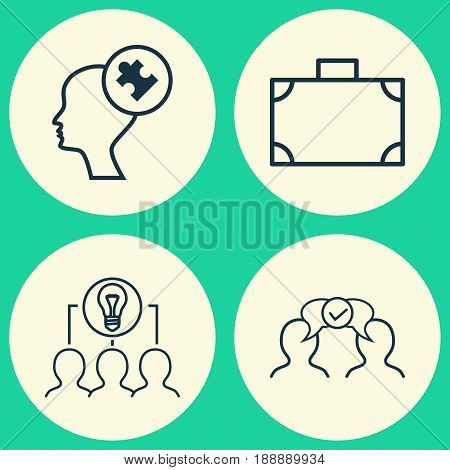Corporate Icons Set. Collection Of Cooperation, Portfolio, Human Mind And Other Elements. Also Includes Symbols Such As Problem, Idea, Haversack.