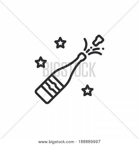 Champagne Pop Icon Vector, Filled Flat Sign, Solid Pictogram Isolated On White, Logo Illustration