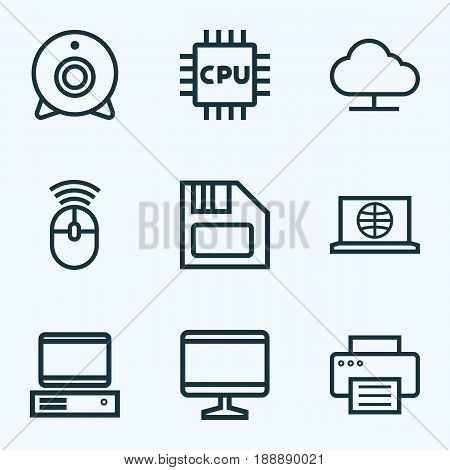 Computer Outline Icons Set. Collection Of Floppy, Cpu, Storage And Other Elements. Also Includes Symbols Such As Connect, Central, Floppy.