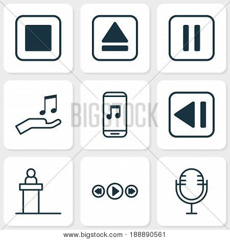 Music Icons Set. Collection Of Rostrum, Stop Button, Last Song And Other Elements. Also Includes Symbols Such As Mobile, App, Eject.