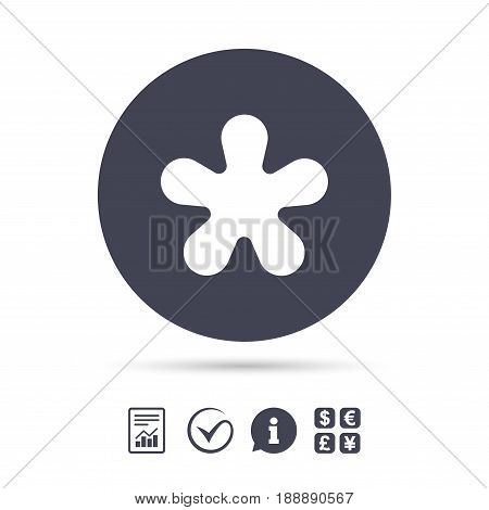 Asterisk round footnote sign icon. Star note symbol for more information. Report document, information and check tick icons. Currency exchange. Vector