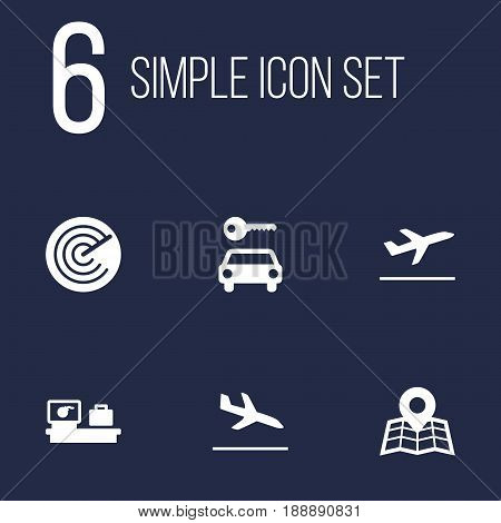 Set Of 6 Aircraft Icons Set.Collection Of Location, Leaving, Luggage Check And Other Elements.