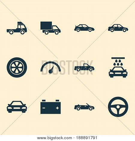 Automobile Icons Set. Collection Of Automobile, Van, Convertible Model And Other Elements. Also Includes Symbols Such As Steering, Van, Auto.