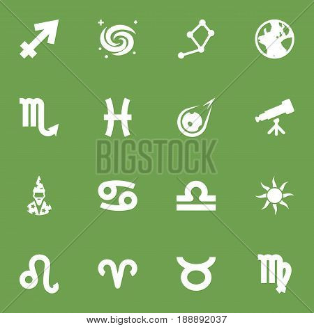 Set Of 16 Astronomy Icons Set.Collection Of Archer, Earth Planet, Lion And Other Elements.