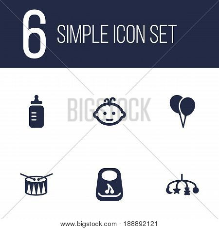 Set Of 6 Baby Icons Set.Collection Of Air Balloon, Breastplate, Baby And Other Elements.
