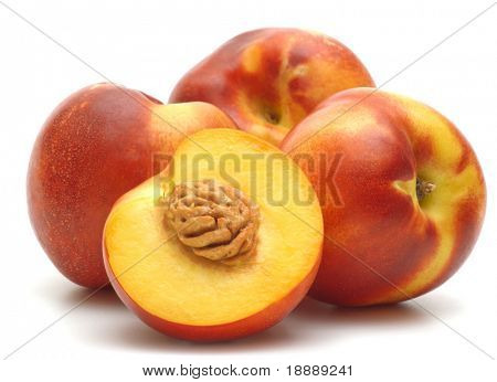 four  nectarines on white background