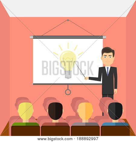 Successful young man with glasses making a presentation near whiteboard with infographics before an audience. Flat design vector illustration vector.