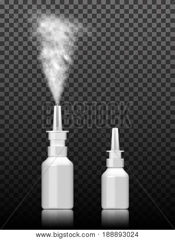 Pump nasal spray in action . isolated on white background