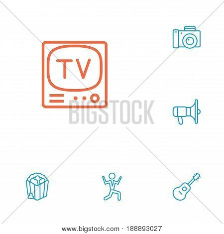 Set Of 6 Amusement Outline Icons Set.Collection Of Tv Set, Photo Camera, Popcorn And Other Elements.