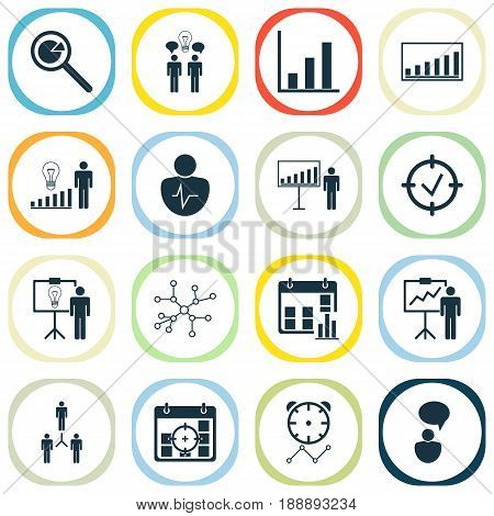 Authority Icons Set. Collection Of Company Statistics, Solution Demonstration, Project Presentation And Other Elements. Also Includes Symbols Such As Communication, Trait, Idea.