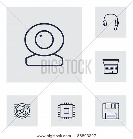 Set Of 6 Computer Outline Icons Set.Collection Of Headphone, Floppy, Web Cam And Other Elements.