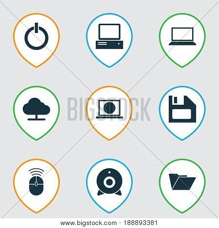 Computer Icons Set. Collection Of Monitor, Power On, Computer Mouse And Other Elements. Also Includes Symbols Such As Web, Diskette, Floppy.