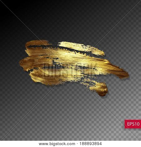 hand drawing gold brush stroke paint spot on a transparency background, handmade vector illustration