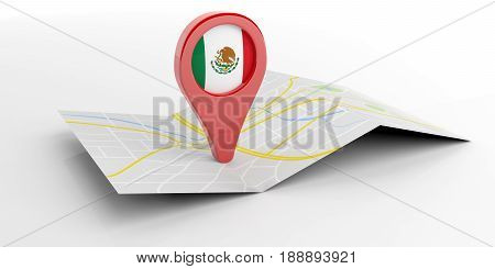 Mexico Map Pointer On White Background. 3D Illustration