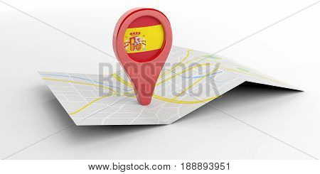 Spain Map Pointer On White Background. 3D Illustration