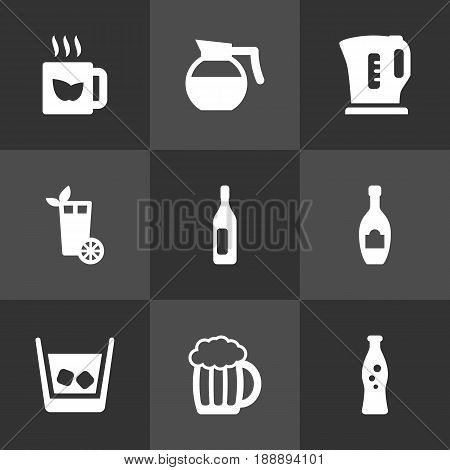 Set Of 9 Drinks Icons Set.Collection Of Lime, Electric Teapot, Wine And Other Elements.