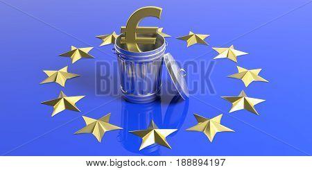Golden Euro Symbol And Trash Can On A Eu Flag. 3D Illustration