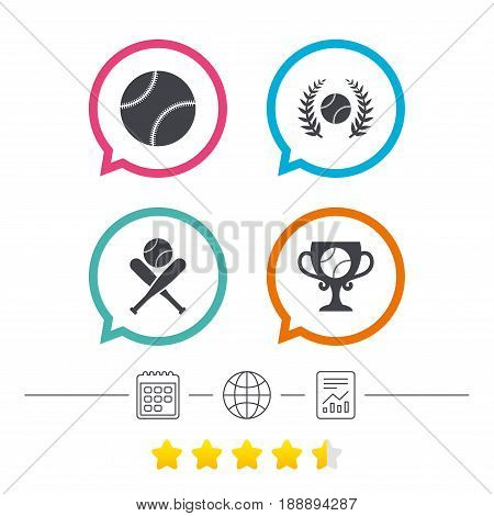 Baseball sport icons. Ball with glove and two crosswise bats signs. Winner award cup symbol. Calendar, internet globe and report linear icons. Star vote ranking. Vector