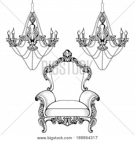 Rich Imperial Baroque chandelier decoration accesories collection armchairs luxurious ornament. Vector French Luxury rich intricate structure. Victorian Royal Style decor