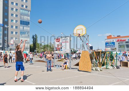 Open Street Streetball Competitions. Player Performs A Free Shot