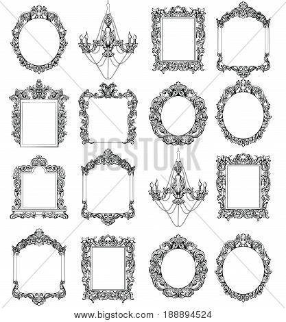 Rich Baroque Rococo frames set. French Luxury carved ornaments. Vector Victorian exquisite Style decorated frames